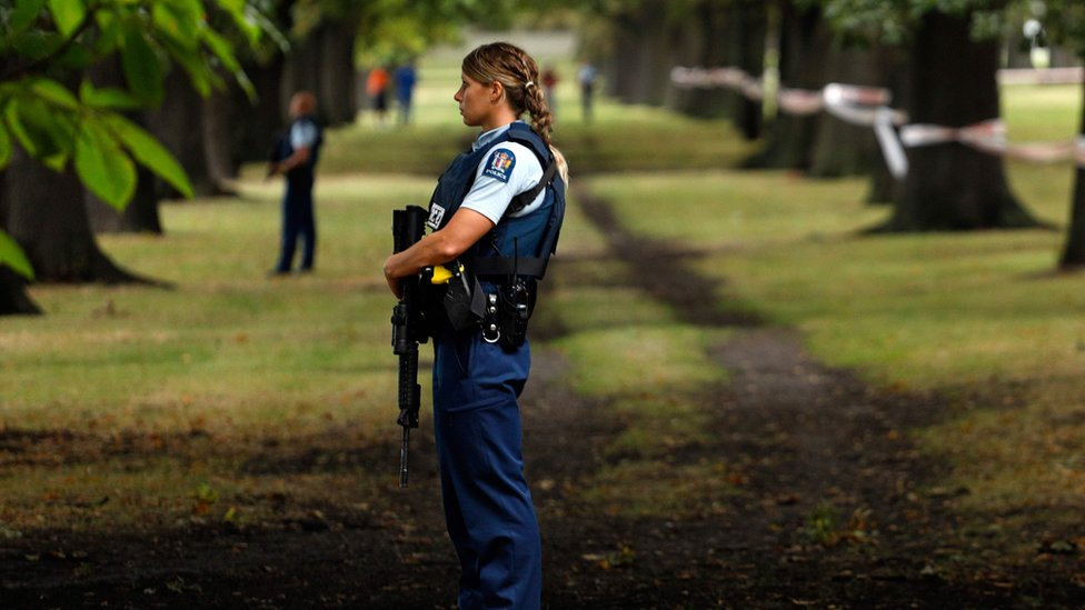 Officers standing guard near the scene of the New Zealand shooting March 2019