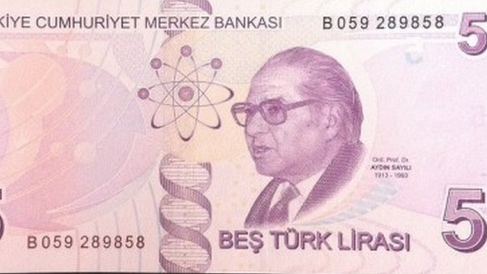 Turkish five lira note, featuring DNA helix