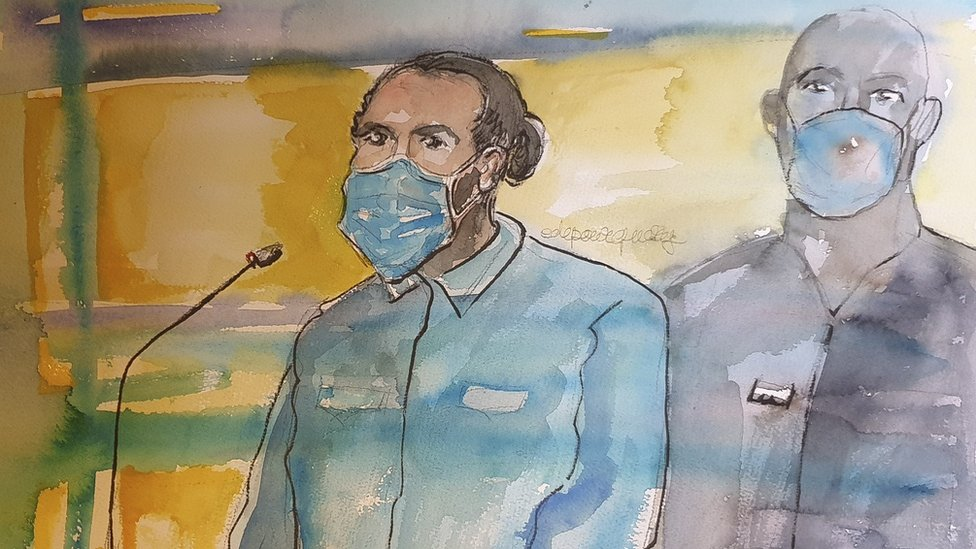 A courtroom sketch made on November 16, 2020, shows defendant Ayoub El Khazzani