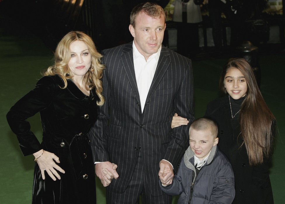 Madonna and husband Guy Ritchie and children Rocco and Lourdes at the Arthur And The Invisibles premier in London in 2007