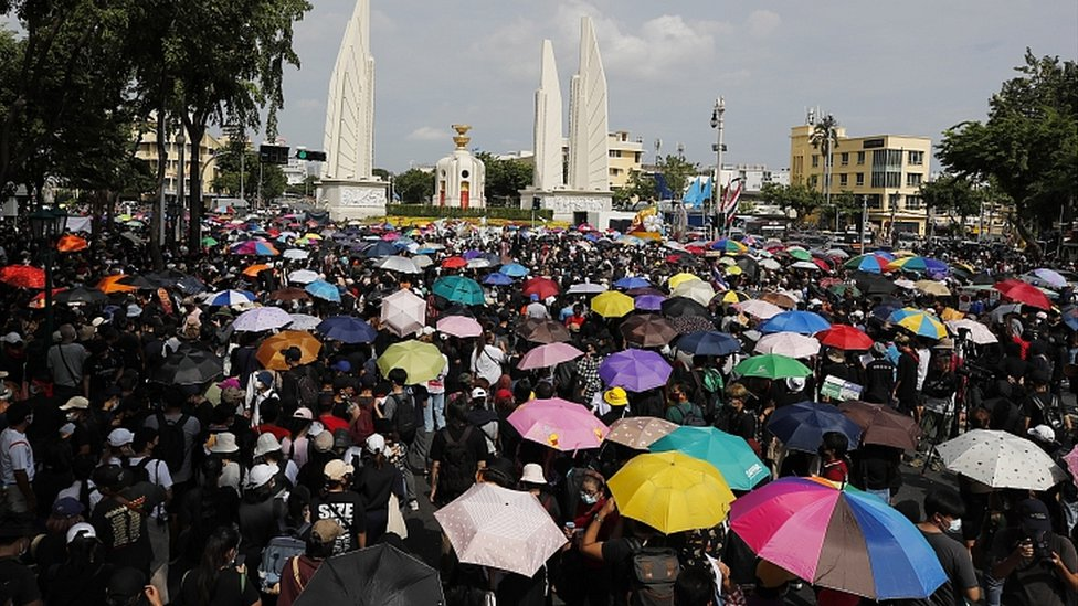 Pro-democracy protesters near the Democracy Monument in Bangkok, Thailand, August 16, 2020
