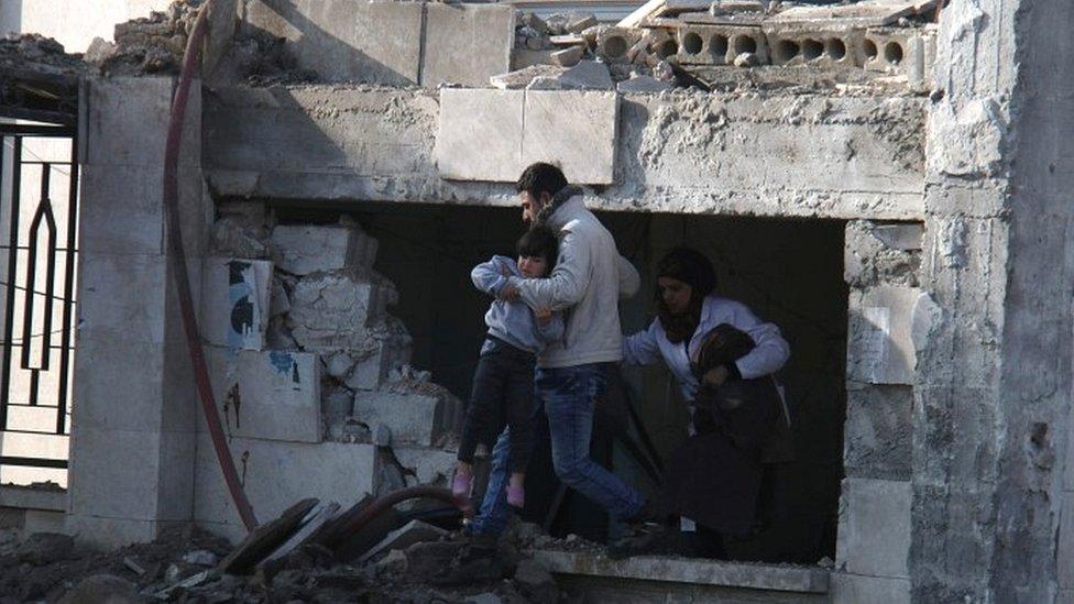 Damaged clinic in Azaz, 15 Feb