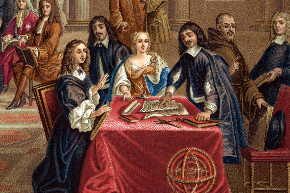 Pintura que muestra a Descartes instruyendo a la reina Cristina
