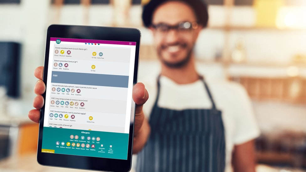 Waiting staff are given tablets with Menu Guide open to help diners with allergies
