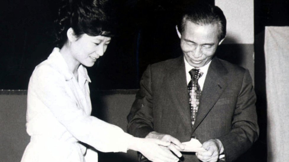 President Park and her father, Park Chung-hee in 1977