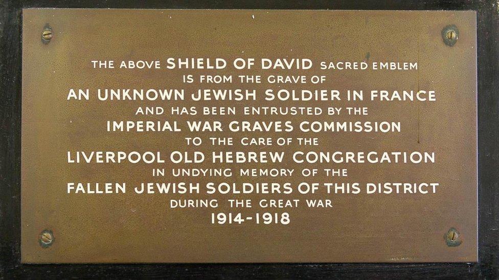 Plaque beneath Star of David at Broadgreen Cemetery, Liverpool