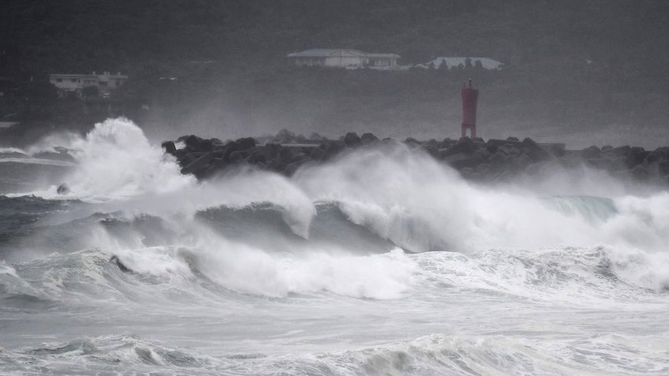 Waves crash on the coast as Typhoon Haishen approaches in Makurazaki, Kagoshima prefecture on September 6, 2020