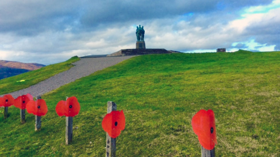 Pupils of Spean Bridge Primary School have made 100 large poppies which they have attached to the fence lining the road near the Commando Memorial on the top of the hill in their village.