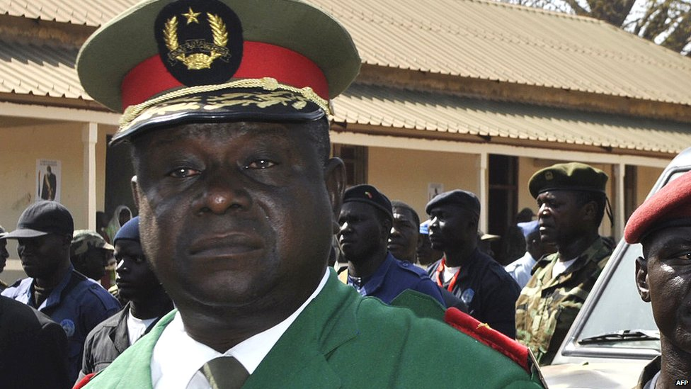 Guinea-Bissau army chief Antonio Indjai attends the funeral of the late President, Malam Bacai Sanha, in January 2012.