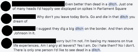 Comments saying Boris Johnson should be 'dead in a ditch'