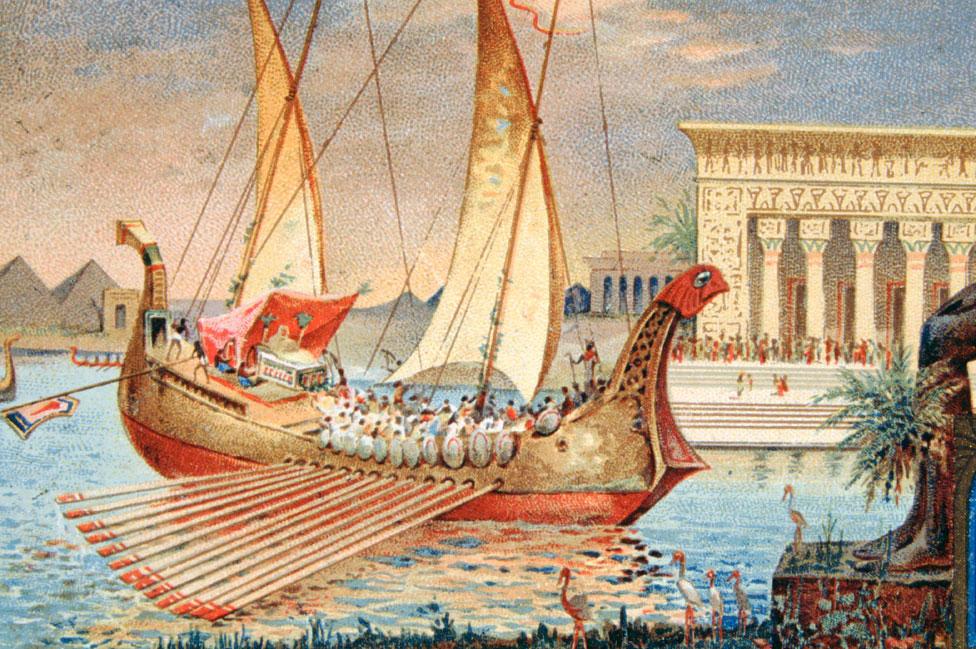 """Cleopatra invitó a Julio César a hacer un viaje por el Nilo. Luego, tuvo a su hijo Cesarión o """"pequeño César""""."""