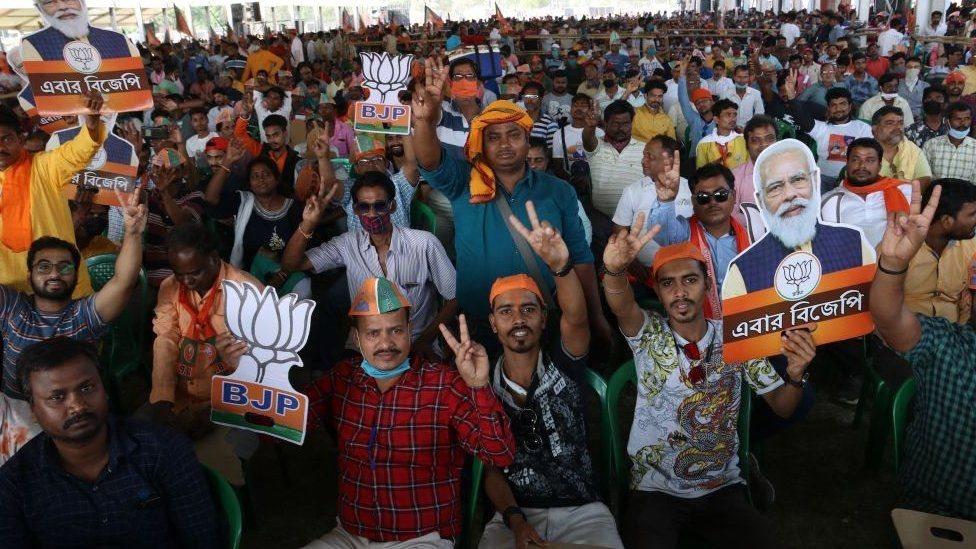 Kerumunan massa BJP, India, covid, kampanye