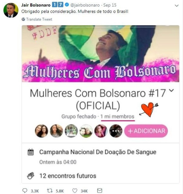 A screen grab of Bolsonaro's Twitter account thanking the hacked page for its support