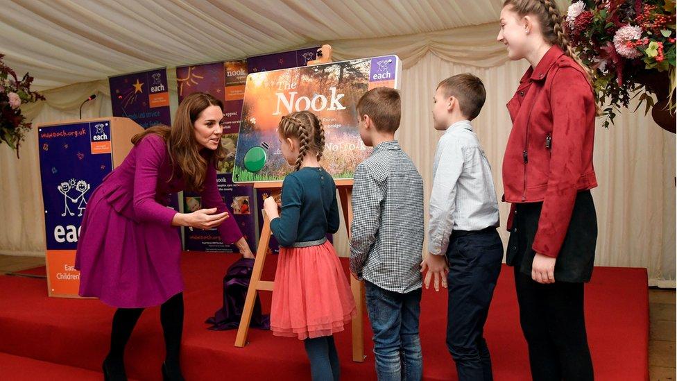 Four children helped the Duchess of Cambridge unveil a plaque