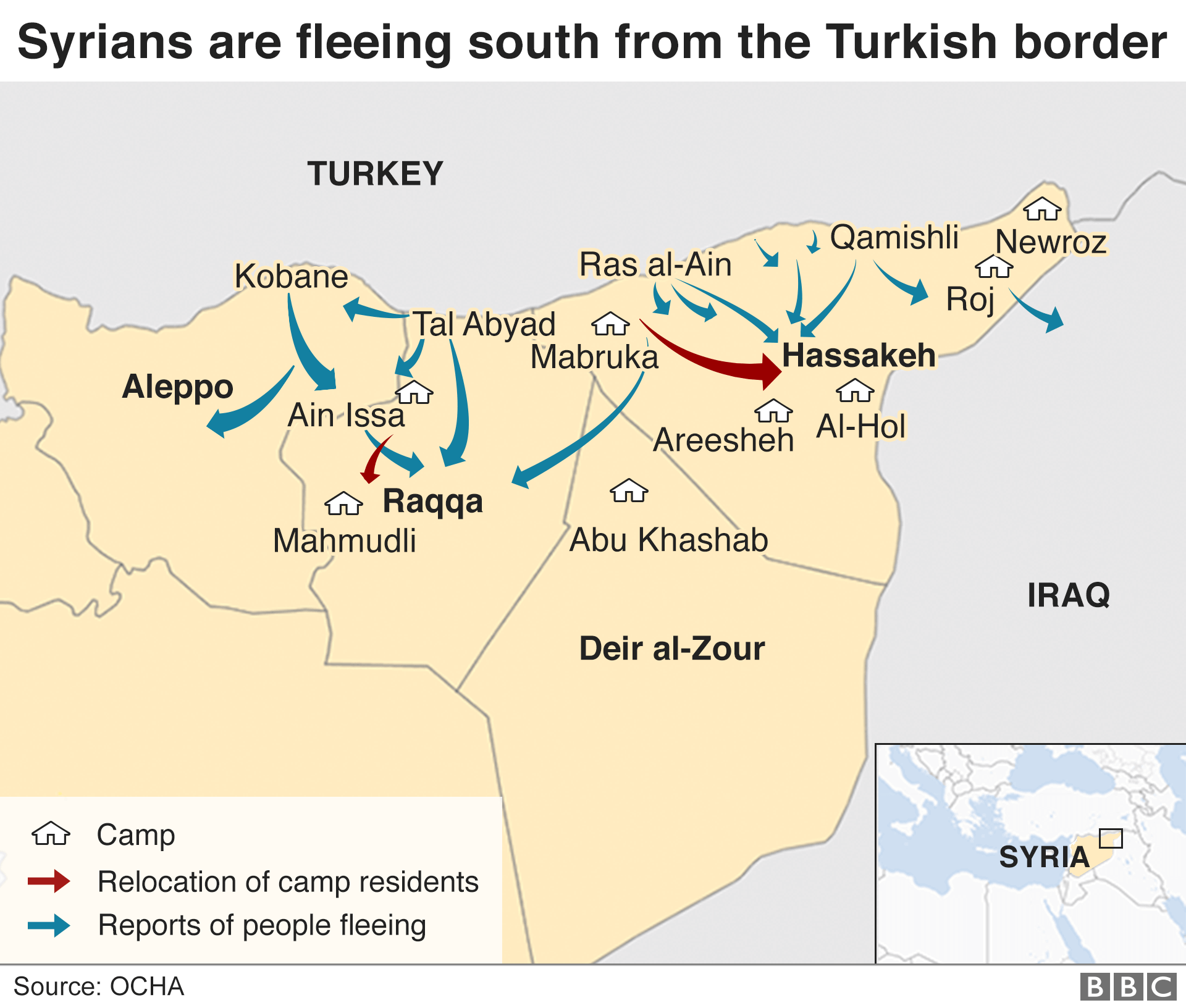 Map showing where Syrians are fleeing from in northern Syria