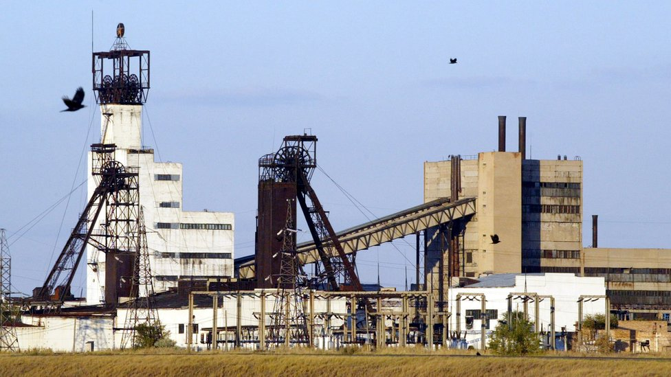 A general view of the Lenin coal mine in the town of Shakhtinsk, in the Karaganda region of central Kazakhstan