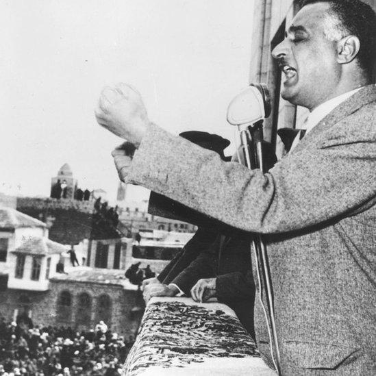 Gamal Nasser durante el discurso que conmemoraba el segundo aniversario de la República Árabe Unida en Damasco.