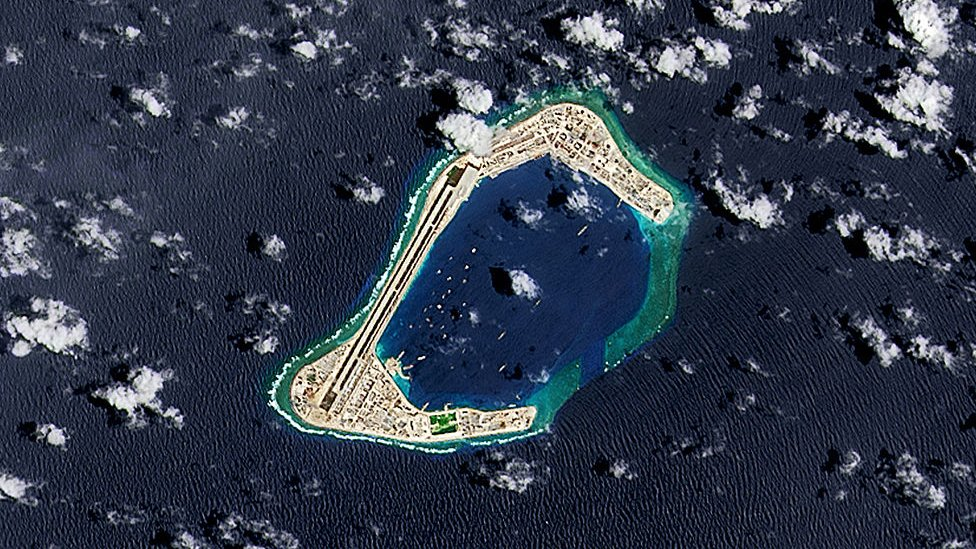 A satellite image of Subi Reef, an artificial island being developed by China in the Spratly Islands in the South China Sea. Image taken 4 September 2016. (Photo by USGS/NASA Landsat data/Orbital Horizon/Gallo Images/Getty Images)