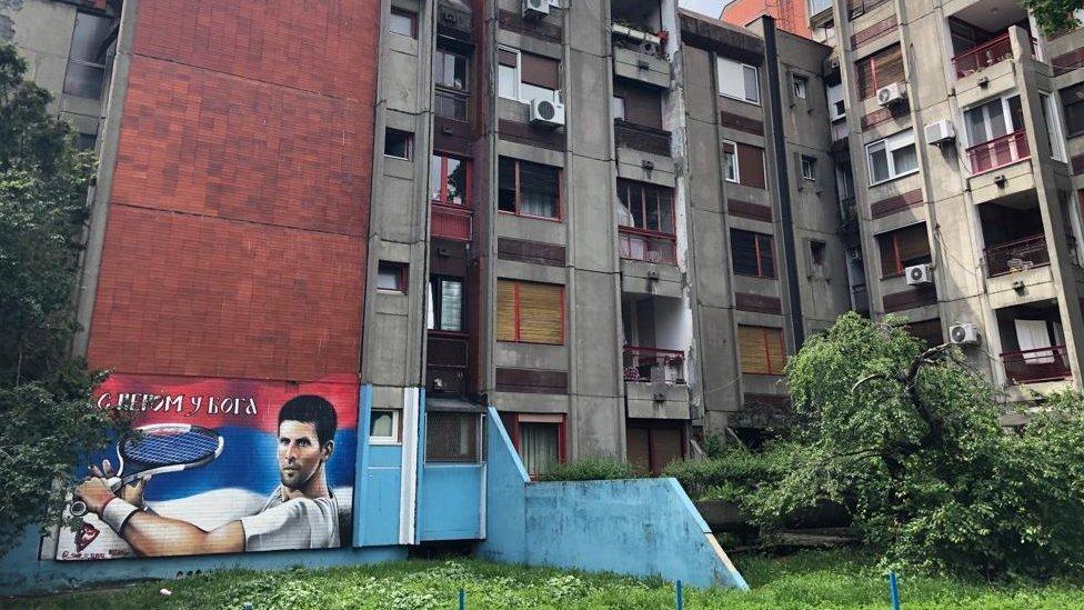 Mural de Novak Djokovic en Banjica.