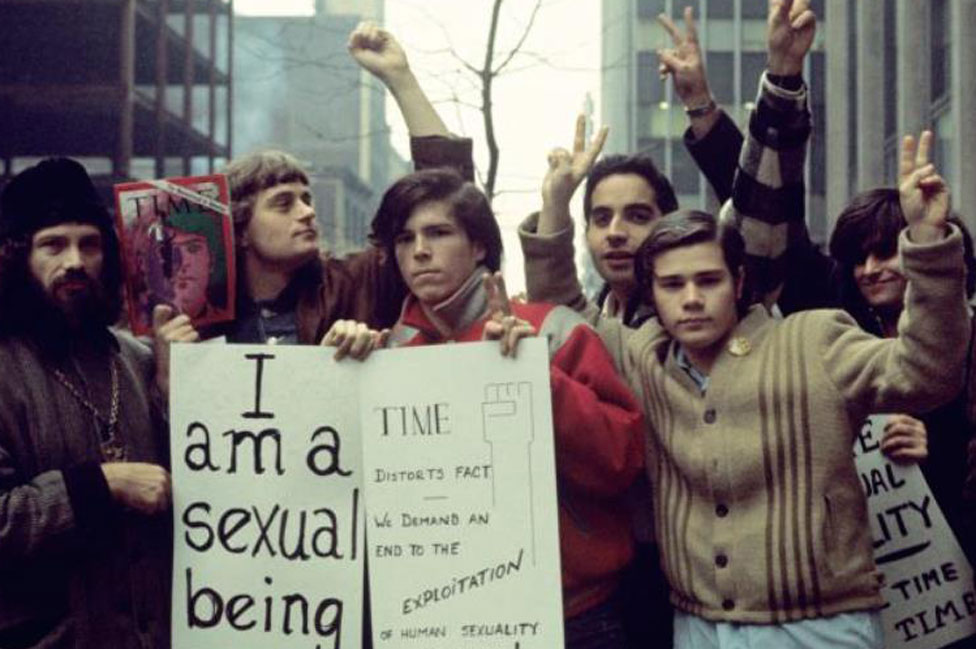 Segal (on right) campaigning with the Gay Liberation Front in 1970, a year after the uprising