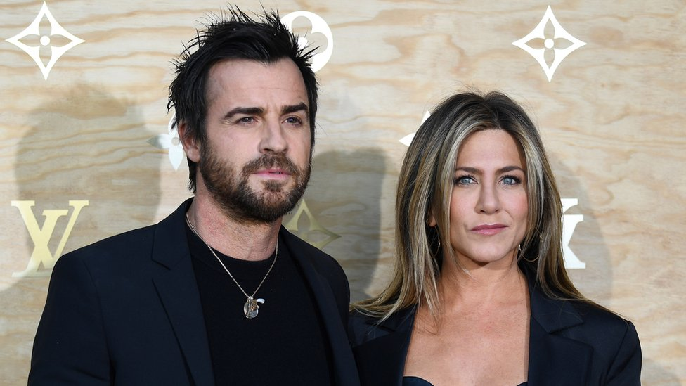 US actors Justin Theroux and Jennifer Aniston