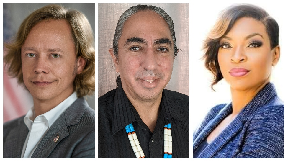 A composite image showing Brock Pierce, Mark Charles and Jade Simmons