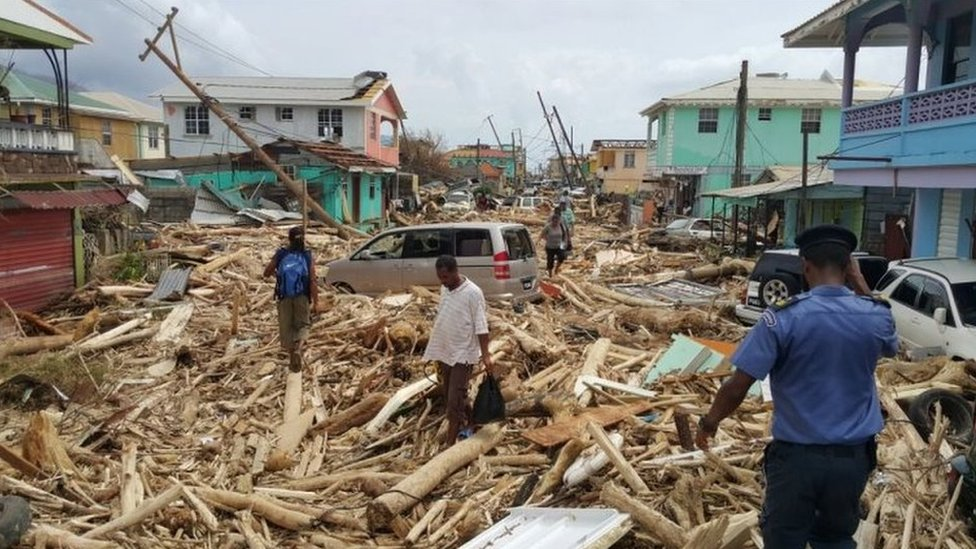 One of the main streets in Dominica, the Caribbean island hit by Hurricane Maria on Monday night, 20 September 2017