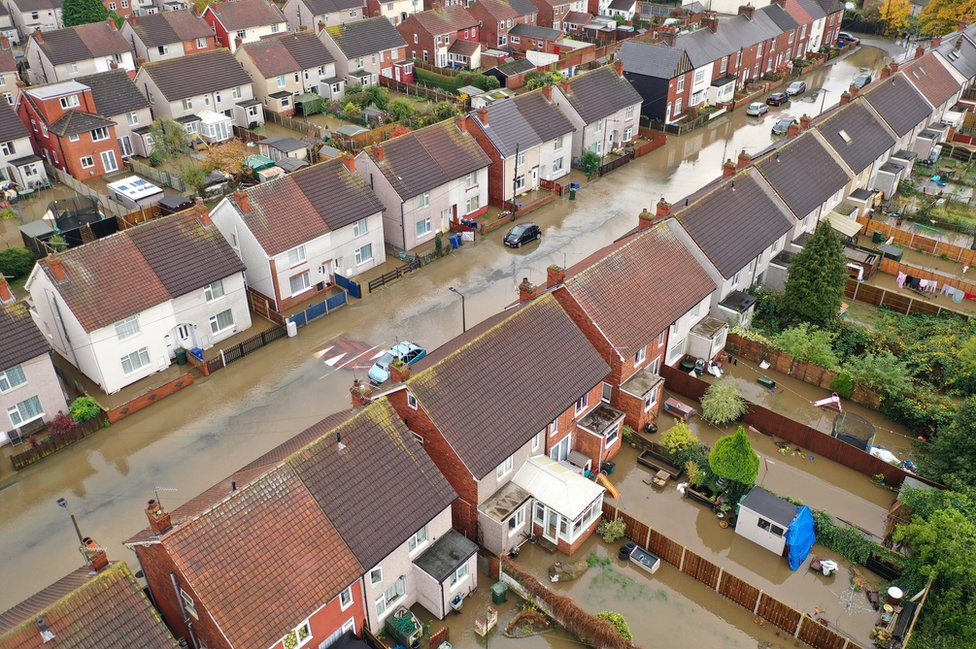 Flooded houses and gardens in Doncaster