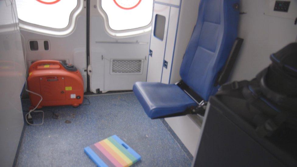 Interior of the ambulance