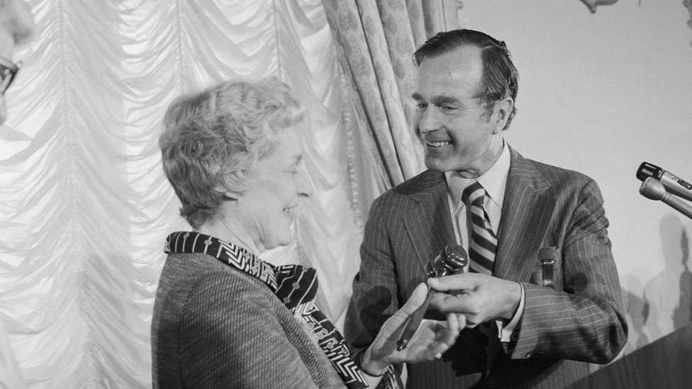George H W Bush hands her the RNC gavel