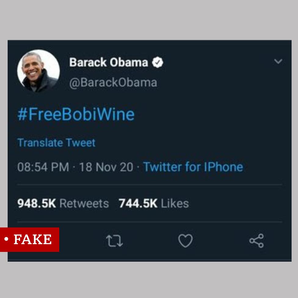 "Screengrab of Twitter post labelled ""fake"