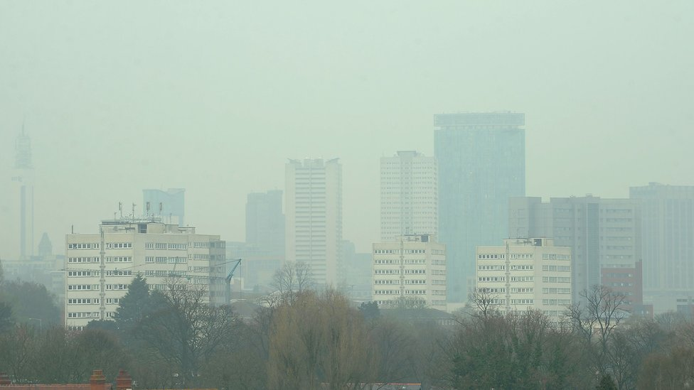 The Birmingham skyline showing smog in the sky