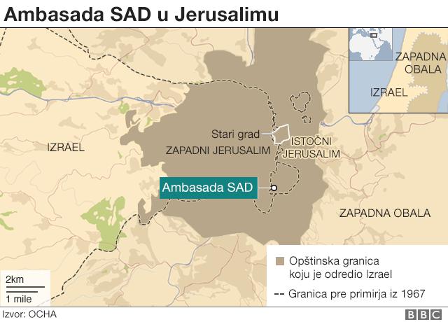 Mapa ambasade SAD u Jerusalimu