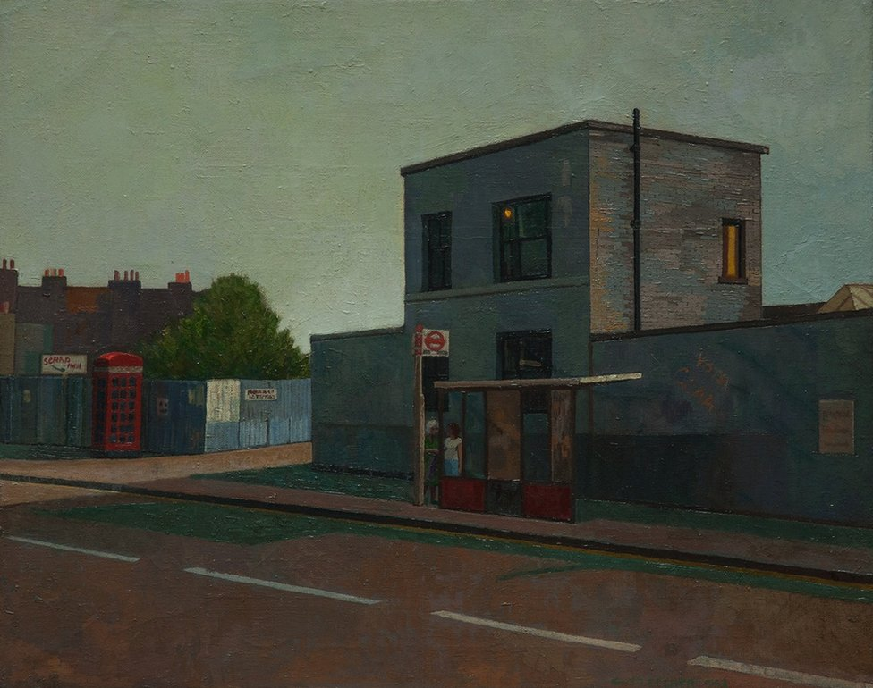 A painting of a bus stop in East London by Doreen Fletcher