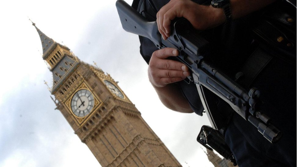 Police officer with gun outside Parliament