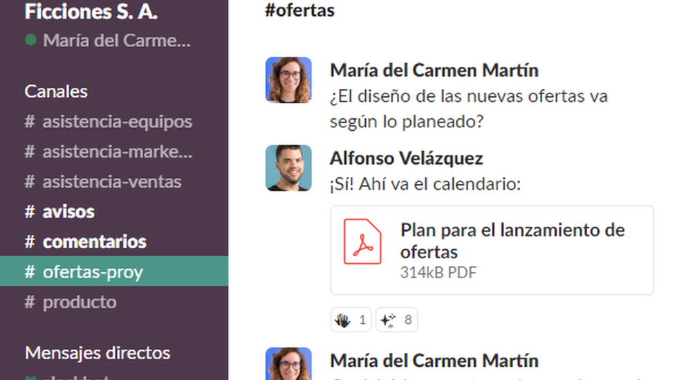 Captura de Slack disponible en su web.