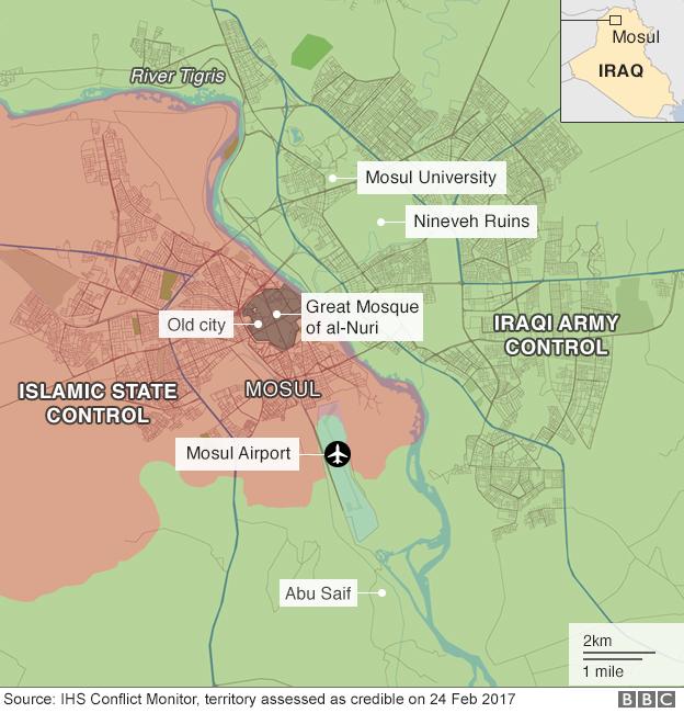 Map of Mosul battle