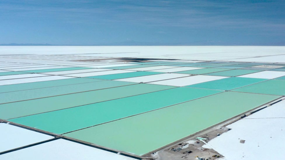 Aerial view of evaporation pools of the new state-owned lithium extraction complex, in the southern zone of the Uyuni Salt Flat, Bolivia
