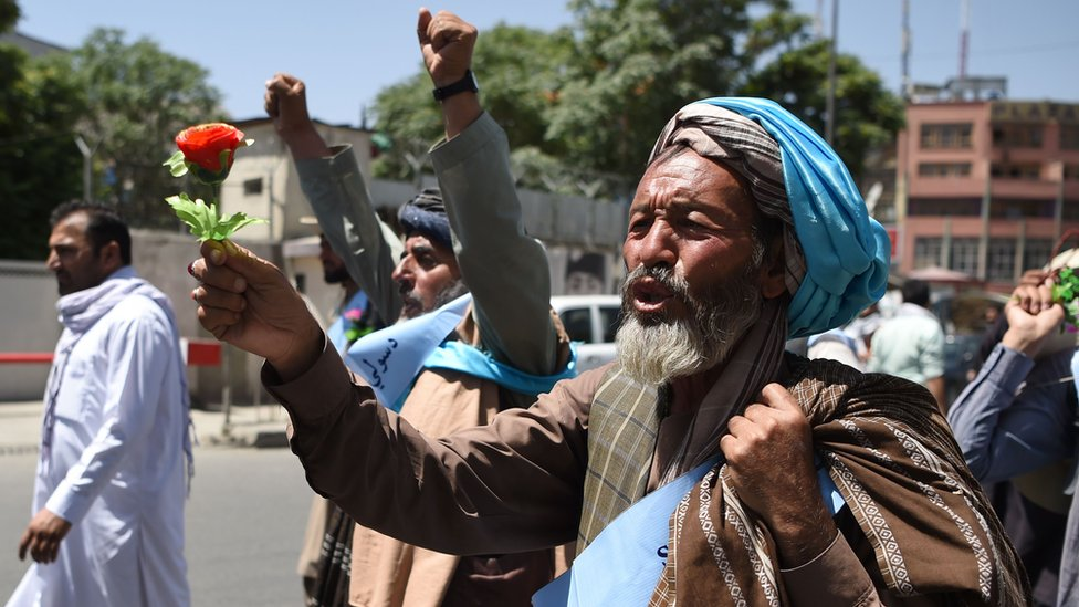 Peace activist holds a flower as he marches from Helmand to Kabul demanding the government and the Taliban call a ceasefire