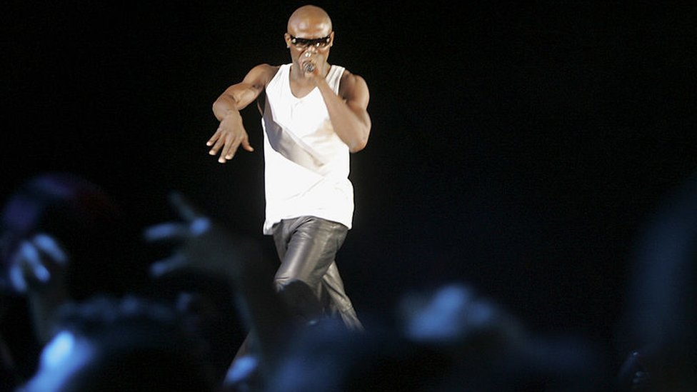 Musical artist Mandoza performs on stage as part of 'MTV Base 100th Live!'
