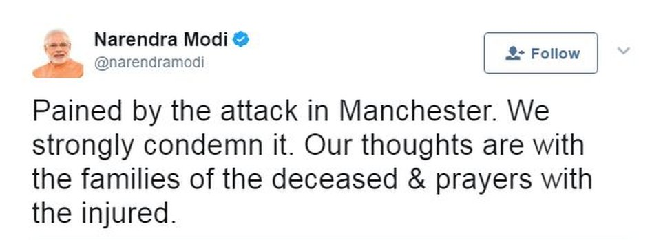 """India's PM Narendra Modi tweeted that he was """"pained by the attack"""""""