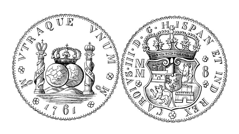 Modelo de la moneda real de a ocho.