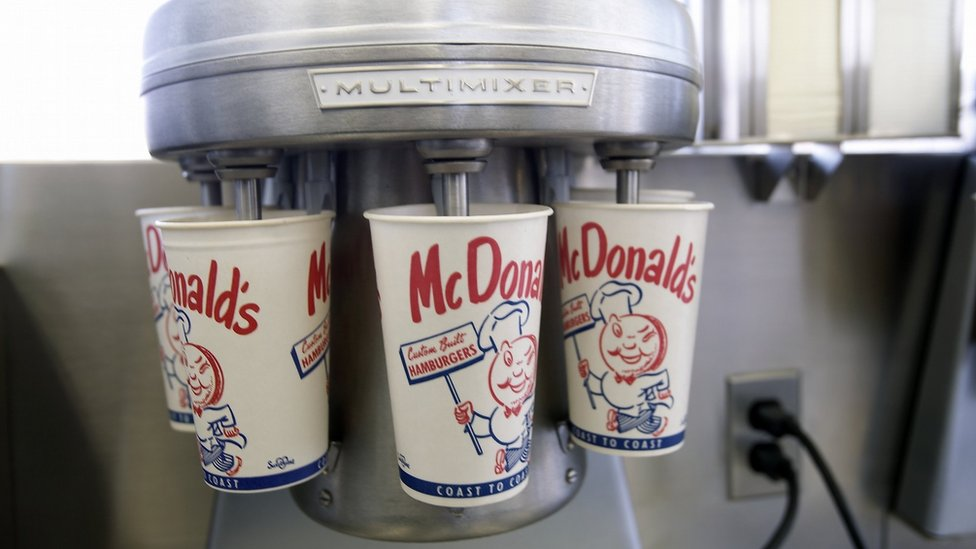 A replica of the milk shake blender from the first McDonald's restaurant, now in the company's museum