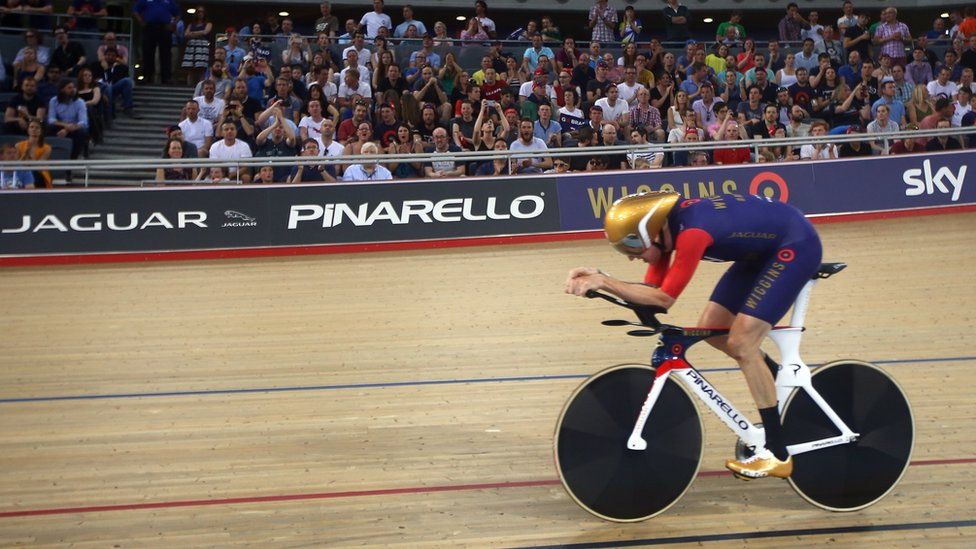 Sir Bradley Wiggins of Great Britain and Team Wiggins on his way to break the UCI One Hour Record at Lee Valley Velopark Velodrome on June 7, 2015