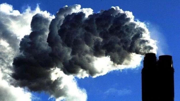 Emisión de gases de una planta