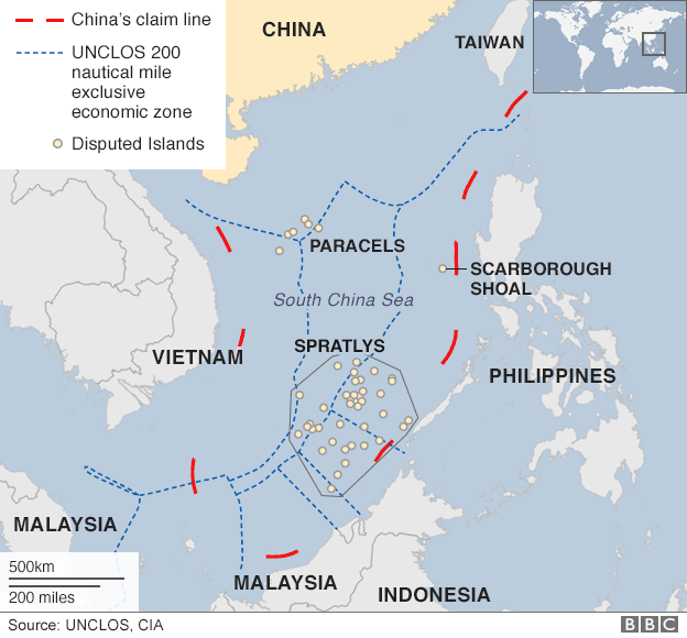 Map showing the South China Sea