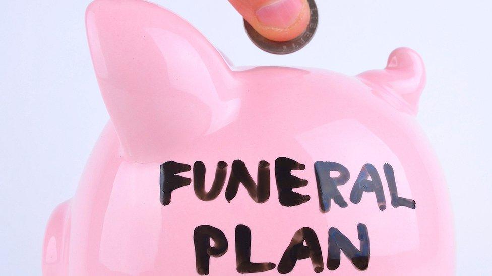 Funeral plan on piggy bank