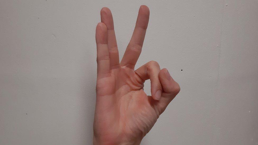 """Isyarat tangan """"OK"""" dalam posisi terbalik tampak seperti formasi angka """"110"""""""