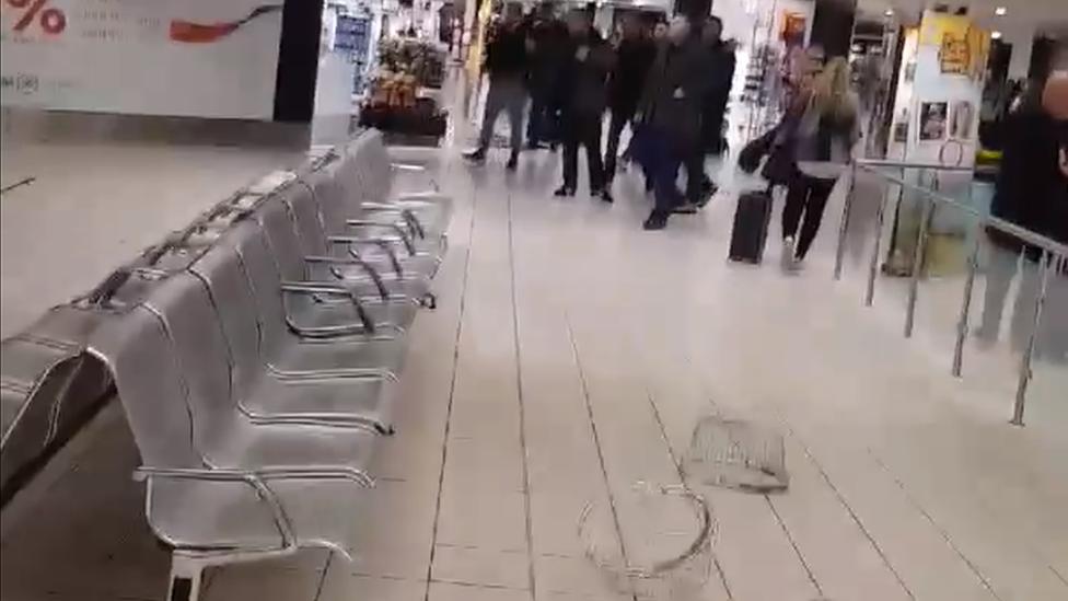 An altercation between passengers at Belfast International Airport
