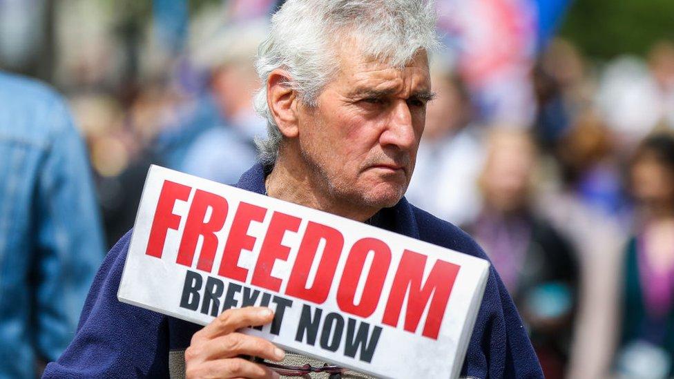Hombre con un cartel a favor del Brexit
